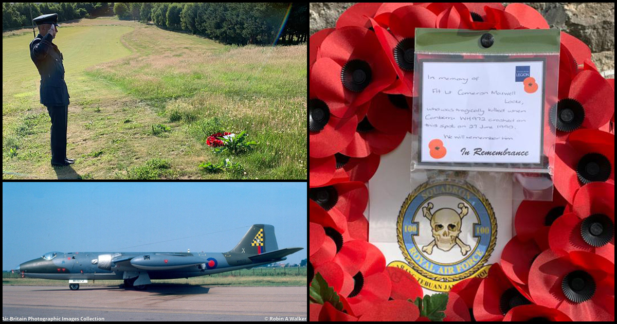 #OnThisDay in 1990, a Canberra flown by 100 Sqn crashed just east of former RAF Kinloss.   The navigator, Flt Lt G Jackson, ejected and suffered serious injuries. Sadly the pilot, Flt Lt Cameron Maxwell Locke, lost his life.  30 years on, we remember Cameron Locke.   #WH972 1/3 https://t.co/RJASMt04xa