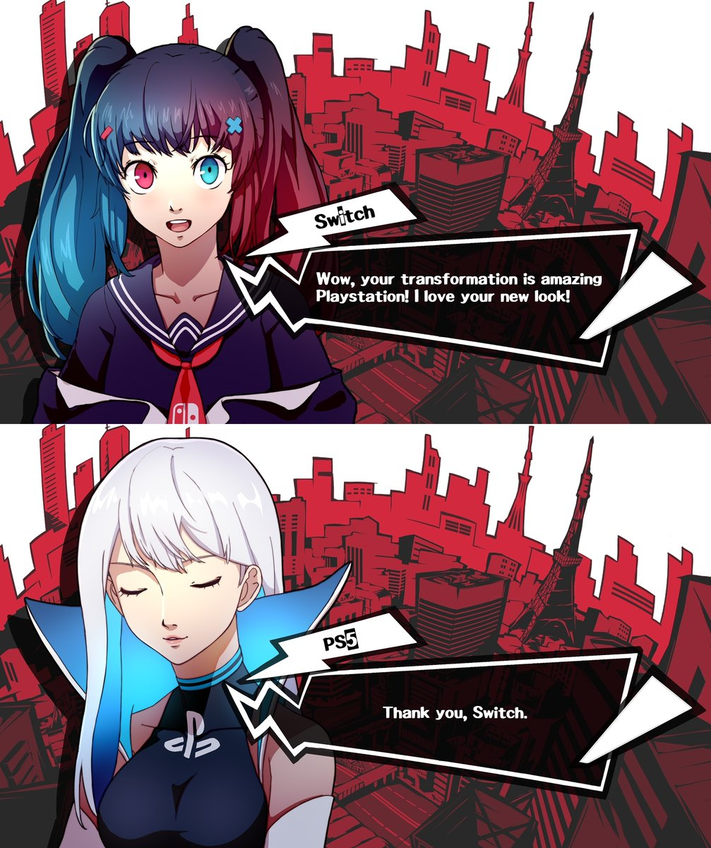 A conversation between Playstation 5 & Nintendo Switch  [Persona 5 Style] 💙❤️ https://t.co/TqDzLYPUgU