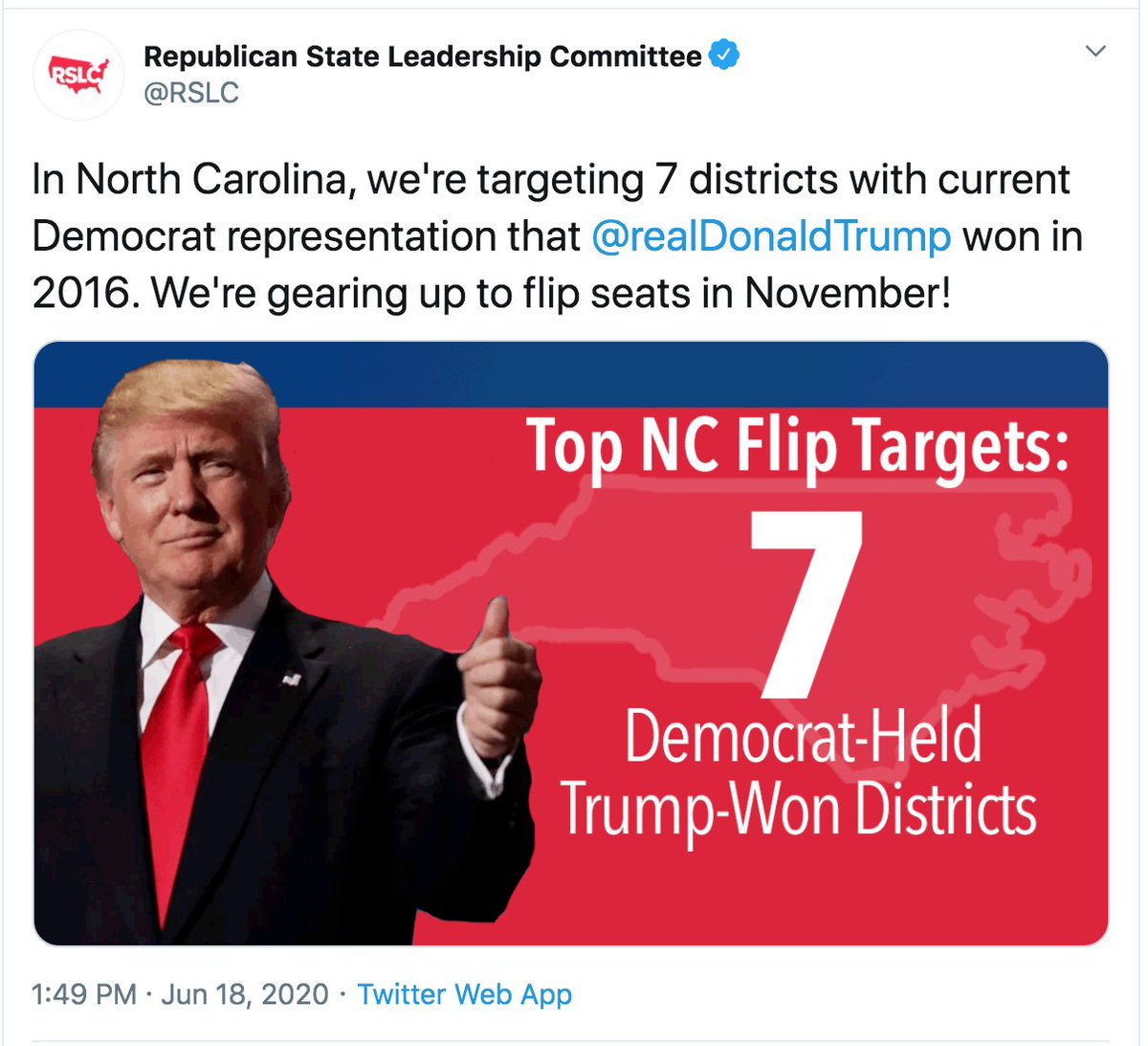 The Republican party officially announced something we already knew: they're targeting my race. My district is one of the 7. Trump won in 16 but I won in 18 by 415 votes. Donate before June 30th to send a message that this seat will stay blue! secure.actblue.com/donate/the-com…
