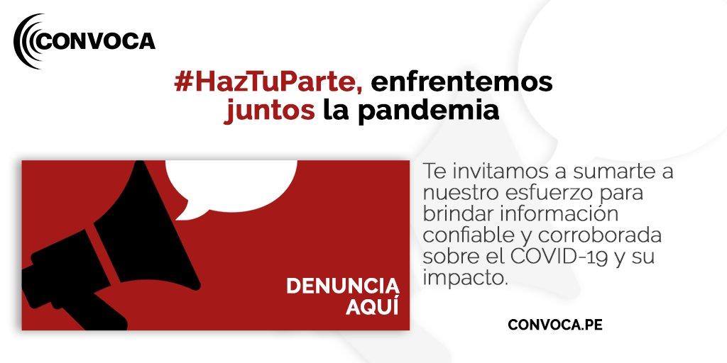 🚨#HazTuParte, enfrentemos juntos la #pandemia 😷 Si eres #médico, #enfermera o laboras en áreas vinculadas al #COVID-19, comparte con nosotros tus denuncias, necesidades, riesgos o información vía #WhatsApp y formulario para que @ConvocaPe investigue ▶  https://t.co/ykf2ZqziDs https://t.co/fxNZ8arSzB