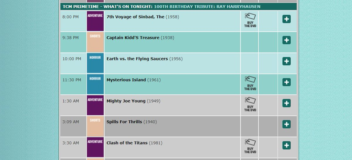 RAY HARRYHAUSEN fans! Turner Classic Movies is showing five Harryhausen classics this Monday night (June 29) in honor of the #stopmotion maestro's 100th birthday.   7th VOYAGE OF SINBAD EARTH VS. THE FLYING SAUCERS MYSTERIOUS ISLAND MIGHTY JOE YOUNG CLASH OF THE TITANS <br>http://pic.twitter.com/aYYYGSLTzB