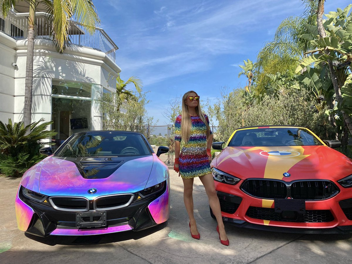 Which @BMW do you like better? 🤔 The #SlivMobile or the #RainbowMobile? 🌈⚡️🚗🚘⚡️🌈