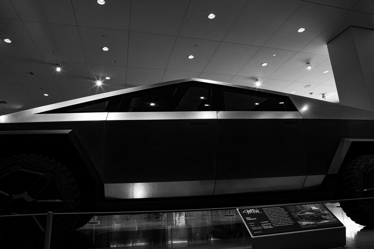 Cybertruck inside Petersen Automotive Museum. #tesla #Cybertruck