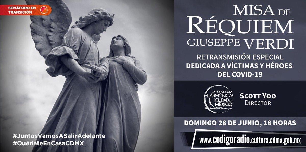 """No pierdas la oportunidad de escuchar la """"Misa de Réquiem de Verdi"""" dedicada a las víctimas y héroes del Covid-19,  mañana domingo a las 6 pm a través de: https://t.co/m2NfAsA8tI https://t.co/8EI2iJndXC"""