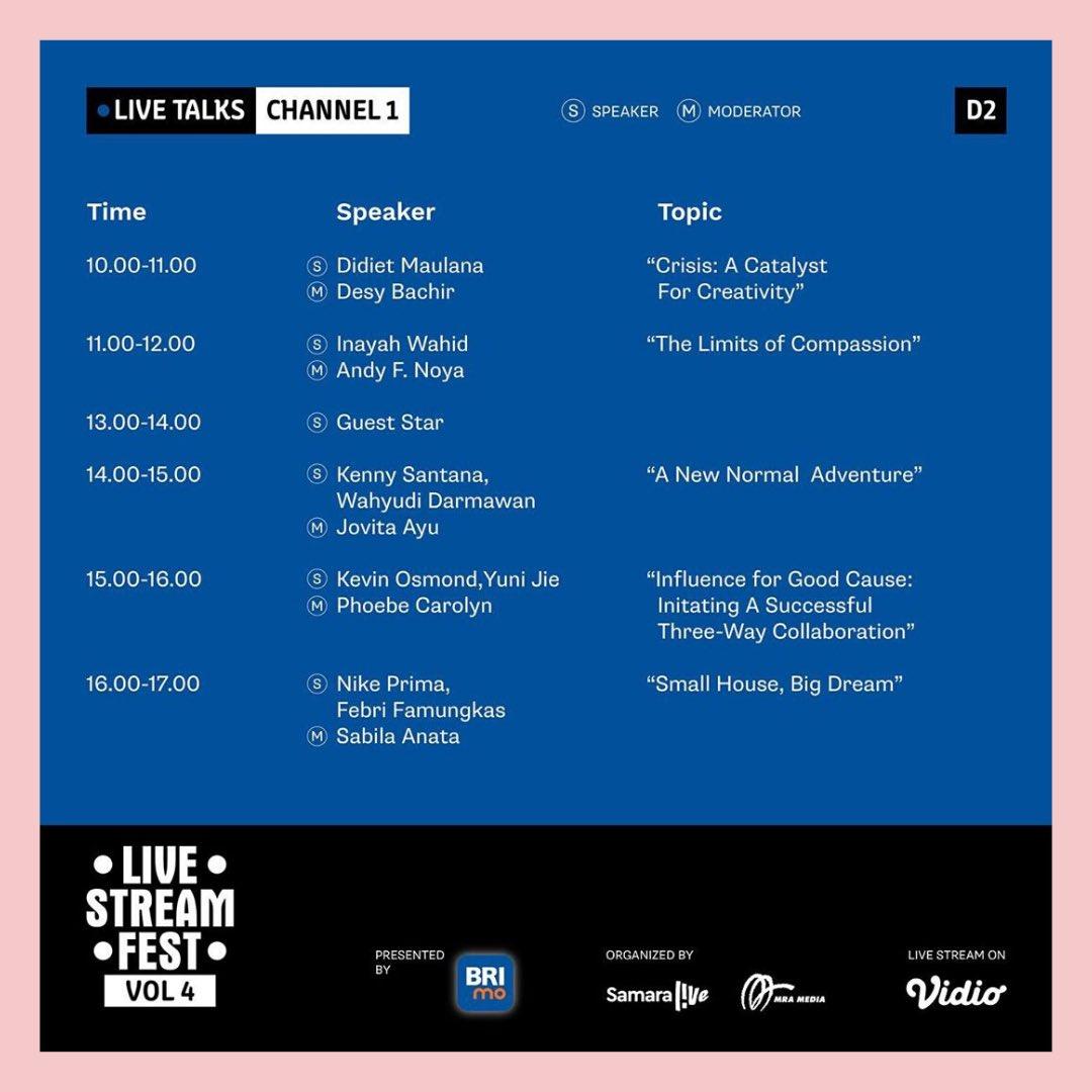 Mau tau siapa saja musisi, content creator, hingga komika yang ada di Live Stream Fest Vol. 4?   Mau tau info lengkapnya? Kunjungi https://t.co/u0VjhcOgWI  #MulaiLagi #LiveStreamFest #LoginKeseruanmu #CovidSafeBUMN #TetapMRApat #RadioLawanCovid19 https://t.co/93EJxvYrx2