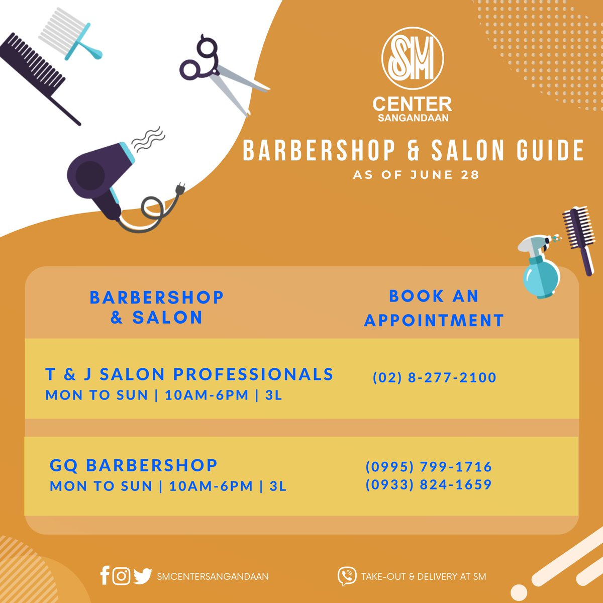Look good and feel good! Message and/or call our barbershop and salons for your booking appointment.  GQ BARBERSHOP 📱 (0995) 799-1716 or (0933) 824-1659  T&J SALON PROFESSIONALS 📱 (02) 8-277-2100 https://t.co/Swp5rhXsNI