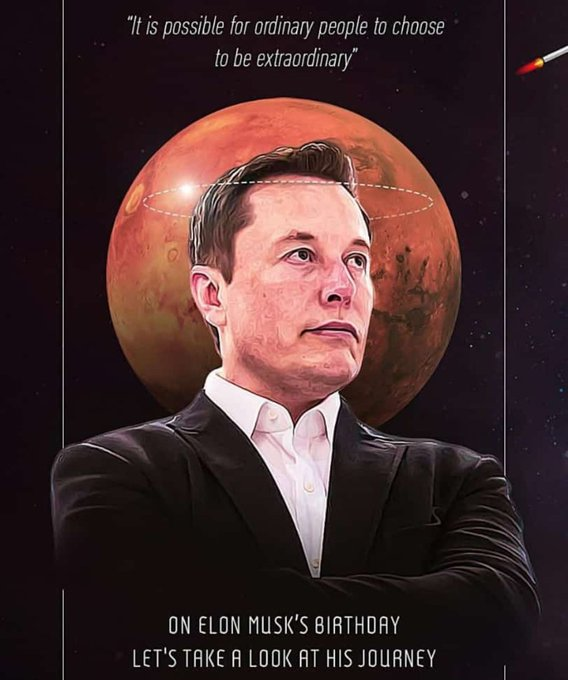 Happy Birthday Elon Musk.  Image credits - inshorts