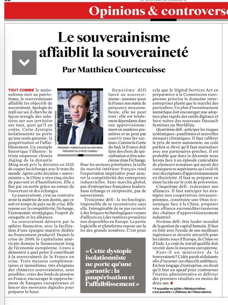 """""""La France doit faire des choix de spécialisation et être astucieuse dans l'échange"""" @MCourtecuisse décrypte les six défis que la France devrait relever pour retrouver sa souveraineté dans @leJDD https://t.co/g04YhERugX #économie"""