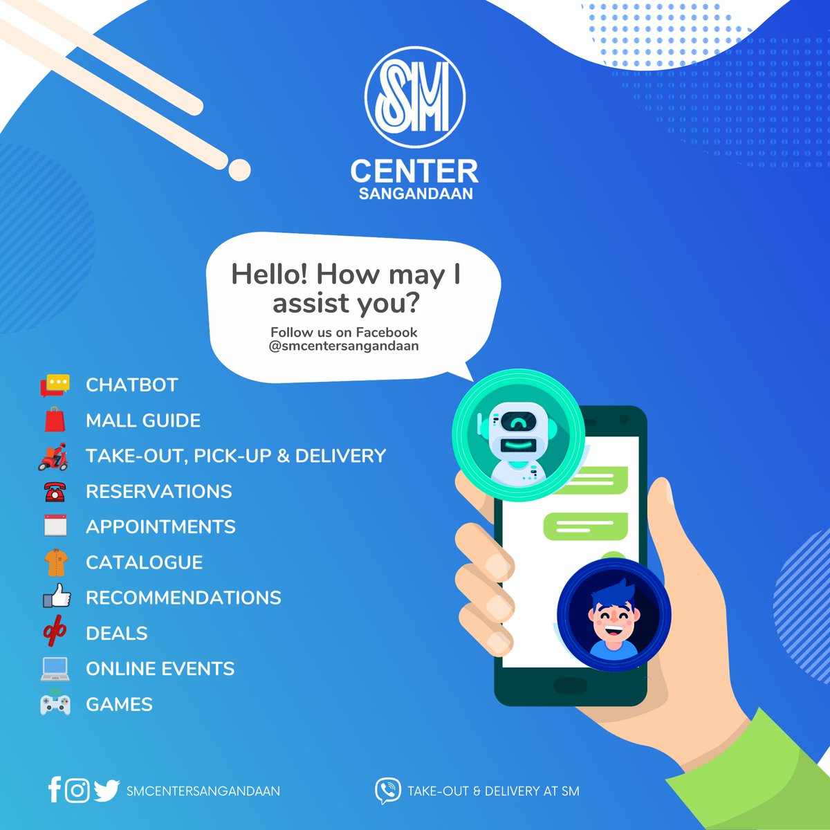 Say hello to fun shopping at SM Center Sangandaan! We are glad to assist you from mall guide, take-out & delivery to fun online activities where great deals await you. Like and follow https://t.co/cF6SsbzFG9 https://t.co/pRb8UX9aJJ