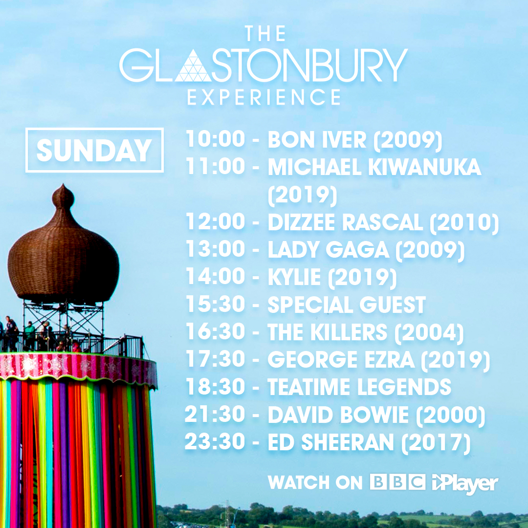 The schedule for our #Glastonbury2020 channel is pretty special 🥰  Who are you looking forward to watching?  You can also find all of these sets (plus over 100 more!) to watch on demand on @BBCiPlayer 🔍 https://t.co/ofzppFEVDQ
