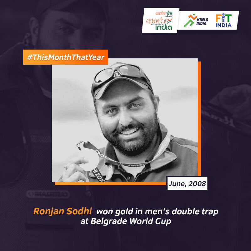 In June 2008, Khel Ratna awardee shooter #RonjanSodhi won a gold medal in Men's Double Trap at the ISSF World Cup in Belgrade. Whats your memory from June? Share it with us using #ThisMonthThatYear. @KirenRijiju @DGSAI @RijijuOffice @PIB_India @ISSF_Shooting @OfficialNRAI