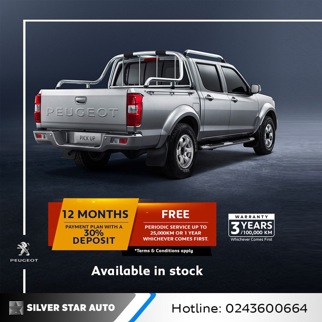 Discover the range with Peugeot which is available now! Contact us on 0244335558 for more details on how you can acquire the Peugeot pickup with a great payment plan. T&Cs apply   #Peugeot #SilverStarAutoLimitedpic.twitter.com/wz4VlmCyR5