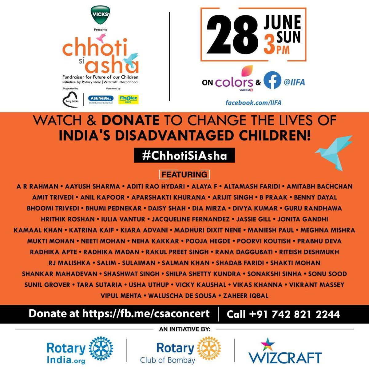 Together we can make a change! Watch #ChhotiSiAsha – A Fundraiser for the future of our children. On Sunday, 28th June on Colors and @iifa's Facebook page at 3pm.