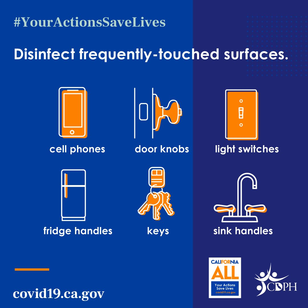 Please be sure to disinfect frequently-touched surfaces to help keep you and others healthy! #YourActionsSaveLives #VenturaCounty