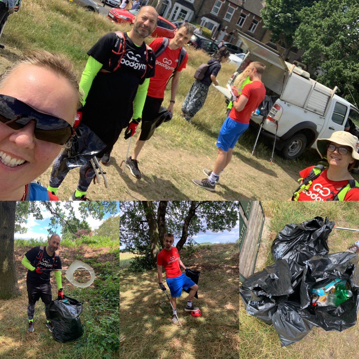 Some of the team headed to #WansteadFlats to help @Flats_Pickers @CoLEppingForest with their monthly litter pick, we added to the near 50 volunteers who collected  90 bags of rubbish https://t.co/w3LcC3vnv7 #goodgym #wehatelitter #KeepBritainTidy #takeithome https://t.co/0h3aqENiRz