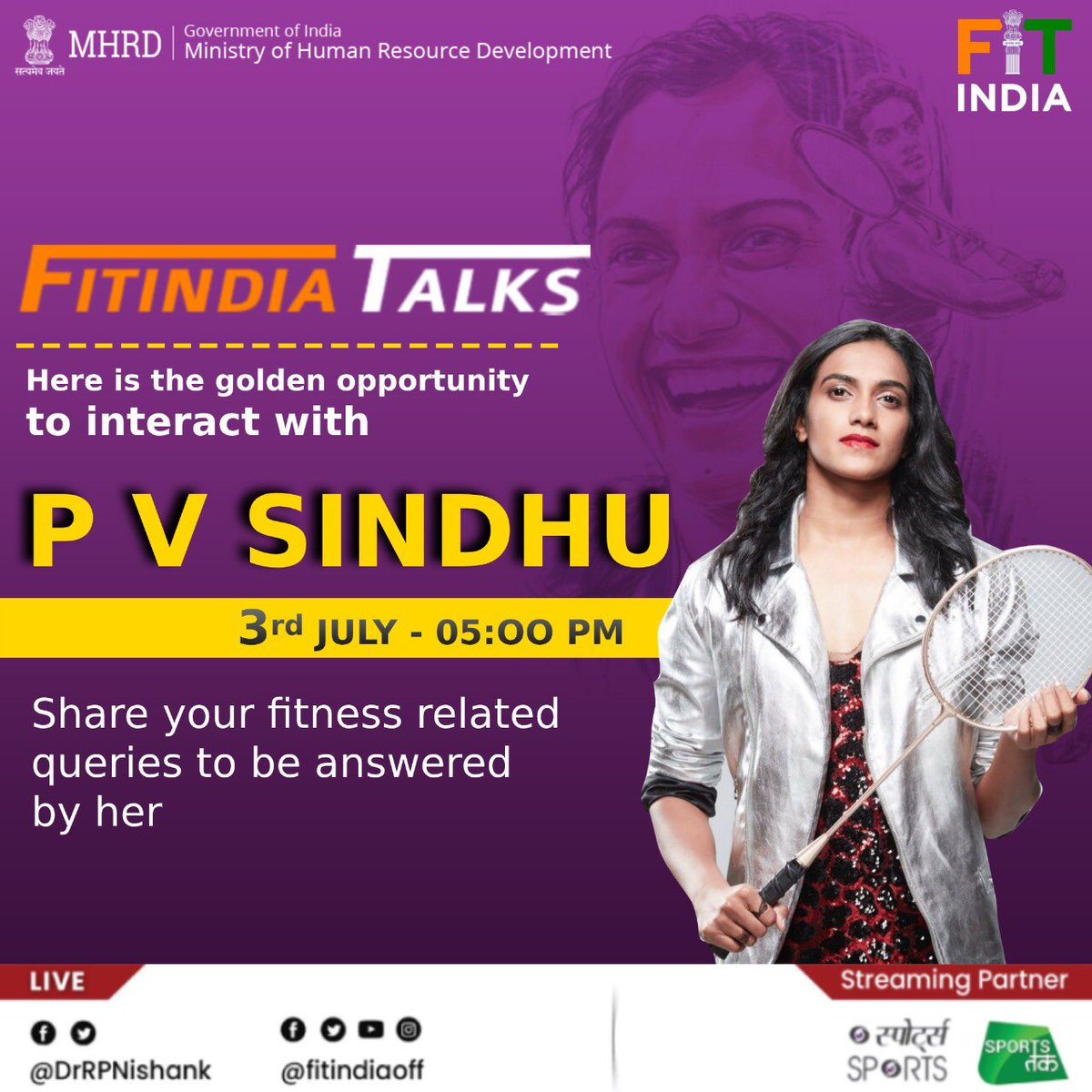 We are giving you a golden opportunity to ask questions directly to our Badminton superstar @Pvsindhu1! 😍 Catch her LIVE on the inaugural episode of #FitIndiaTalks on 3rd July at 5 pm and get to know her fitness mantra! #FitIndiaMovement @BAI_Media @aajtak @HRDMinistry
