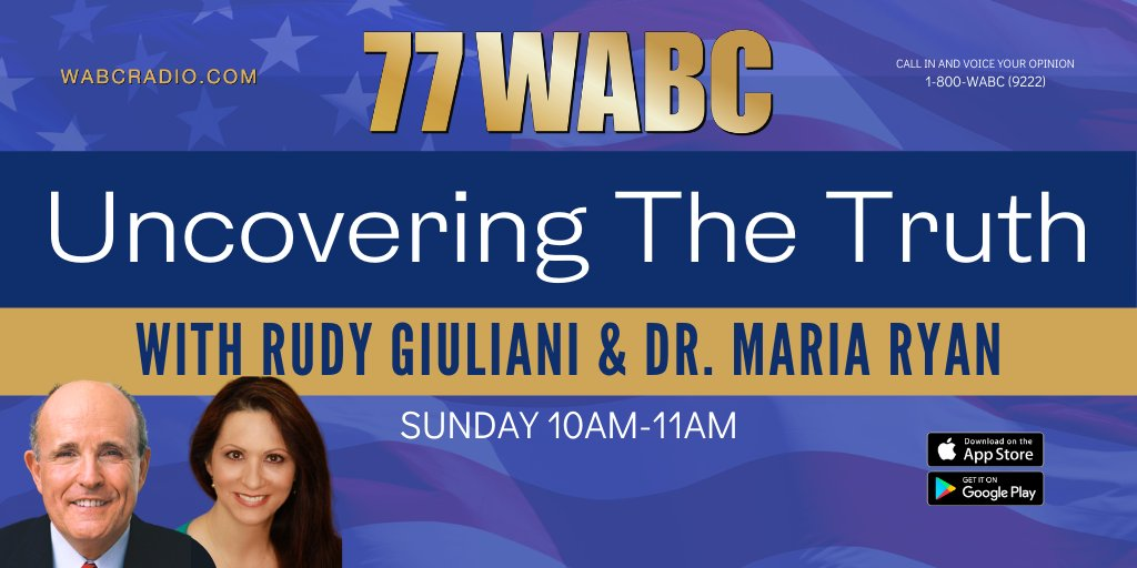 COMING UP: @RudyGiuliani and @MariaRyanNH will be live for Uncovering the Truth from 10-11AM. Join the conversation, 1-800-848-WABC (9222). Listen on the 77 WABC app and WABCRadio.com