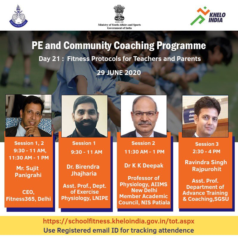 Attention, teachers, and parents! Be a part of our next webinar to understand fitness protocols with our speakers -Mr. Sujit Panigrahi,Dr. Birendra Jhajharia,Dr. K.K Deepak,& Ravindra Singh Rajpurohit. All speaker details mentioned in the image. @KirenRijiju @DGSAI @RijijuOffice