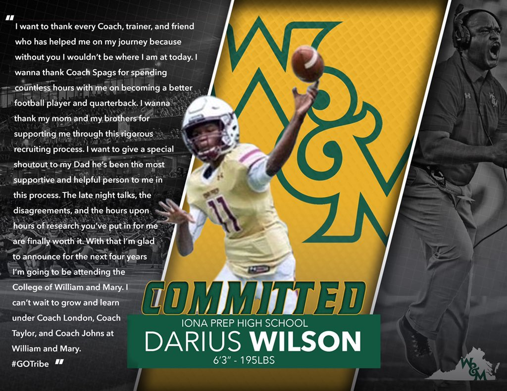 Congratulations to QB Darius Wilson '21 who verbally committed to @WMTribeFootball‼️ #GOTribe #GoGaels🏈 https://t.co/SvMaGPWtNt