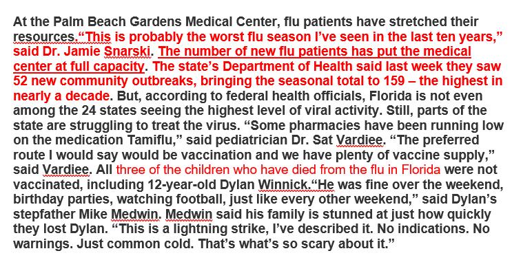 "Selective covid19 hysteria--1/26/2018 rpt Seasonal flu puts Palm Beach FL hospital at ""full capacity"", ""parts of state struggling to treat virus"", three children among deaths 2/2 miami.cbslocal.com/2018/01/26/flo…"