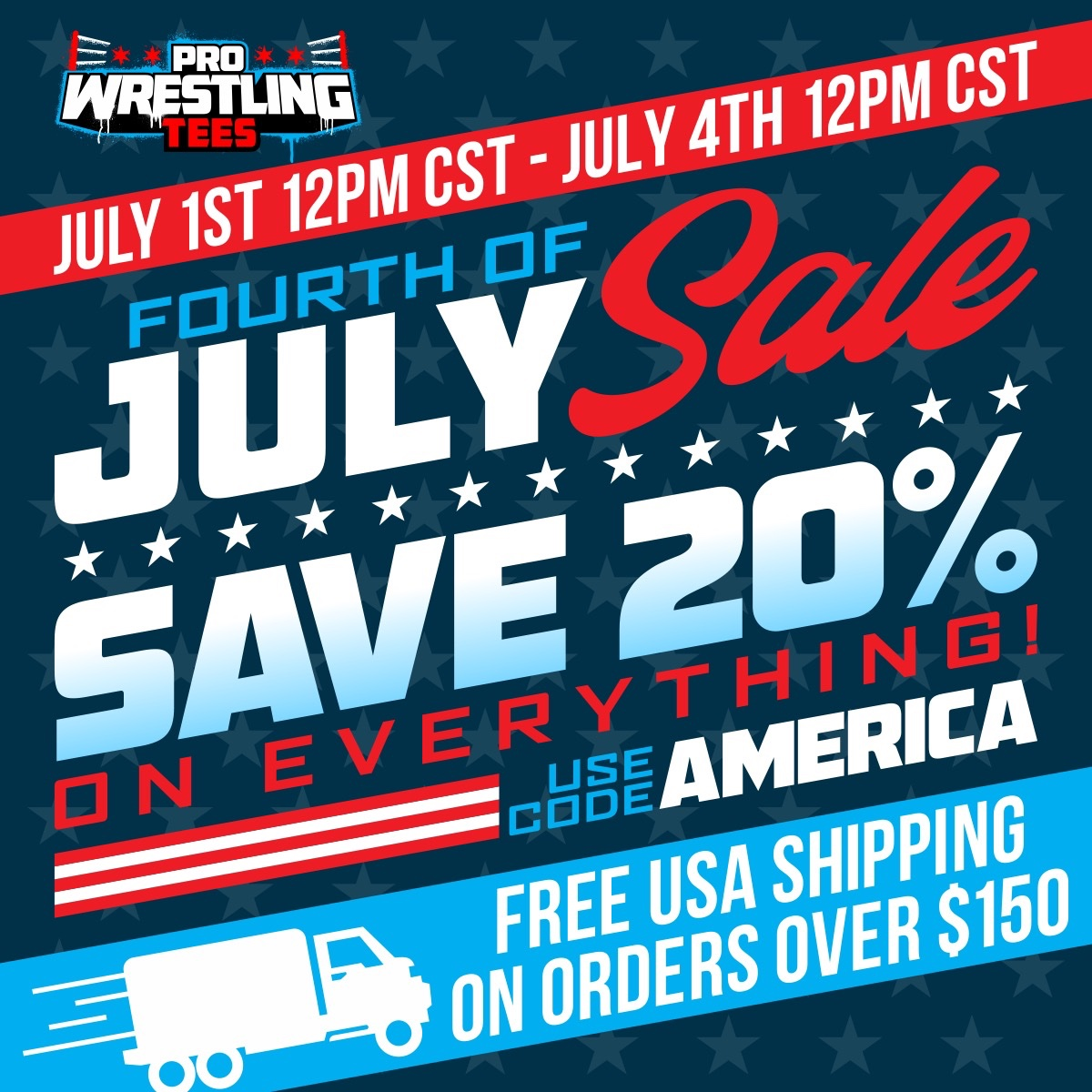 Starting this Wednesday 12pm cst at ProWrestlingTees.com. Tons of @AEWrestling 4th of july sale exclusives + brand new Owen Hart merch.
