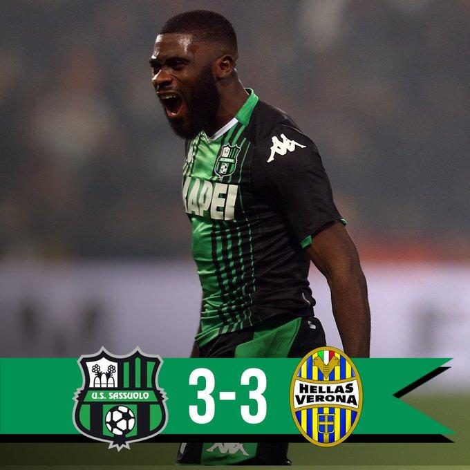 Sassuolo-Verona 3-3.