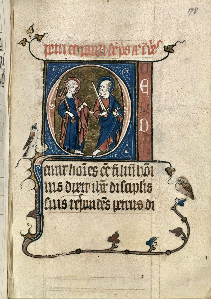 St Peter & St Paul with a bonus jolly owl.   BL Harley 2449; Prayers for saints' vigils with a calendar; Brussels; c.1276 - c.1296; f.178r @BLMedieval<br>http://pic.twitter.com/PGs8w9CRJe