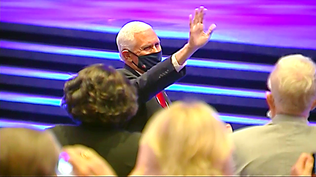 "Wearing mask, VP Pence waves to audience as he arrives to address ""Celebrate Freedom Rally"" at First Baptist Church Dallas. https://t.co/iWxG5eW6b0"
