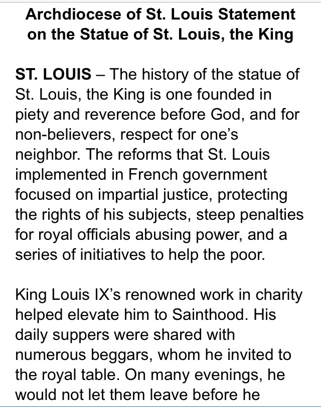 The St. Louis Archdiocese today emailed a statement about the statue of Louis IX. twitter.com/kodacohen/stat…
