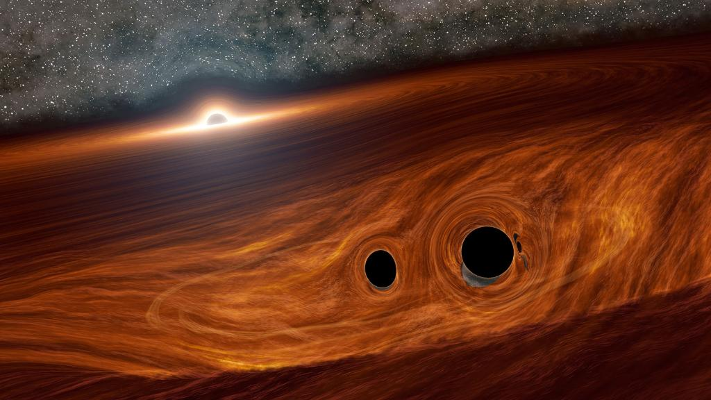 In a first, astronomers may have seen light from two smaller black holes that may have merged together to form a new black hole. 🤯 Here's what we know about this cosmic collision: go.nasa.gov/2VoEaK8