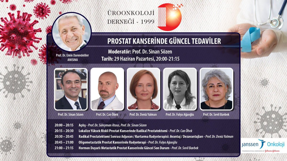 """29 Haziran, Pazartesi  20:00 - 21:15  """"Prostat kanserinde güncel tedaviler"""" konulu webinarımıza aşağıdaki linkten kayıt olabilirsiniz https://www.kongretv.net/uroonkoloji-29haziran-kayit… #prostatkanseri #uroonkoloji @Uroonkoloji1999 @Sinansozens @ProfDrCanObek #DenizYalman @agaoglufulya @sbavbekpic.twitter.com/pxE1n7QQCR"""