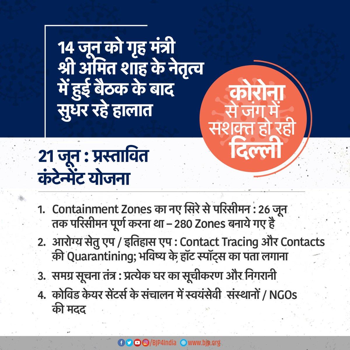 कोरोना से जंग में सशक्त हो रही दिल्ली। 21 जून: प्रस्तावित कंटेन्मेंट योजना • Containment Zones का नए सिरे से परिसीमन। • समग्र सूचना तंत्र: प्रत्येक घर का सूचीकरण और निगरानी • कोविड केयर सेंटर्स संचालन में स्वयंसेवी संस्थाओं / NGOs की मदद #IndiaFightsCorona