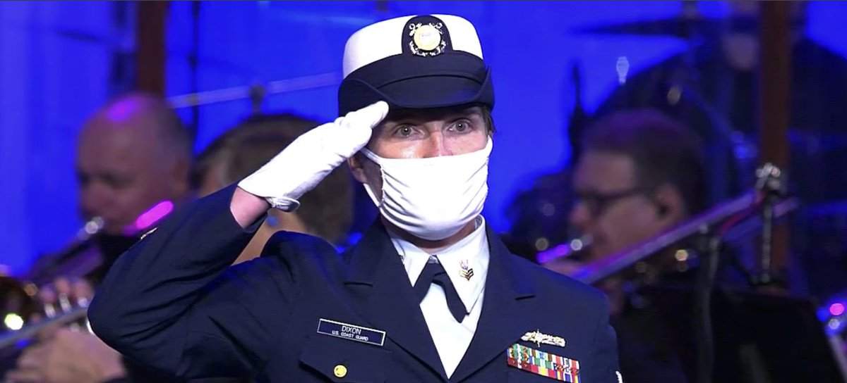 Coast Guard wears mask on stage at Pence's church service. True patriot.