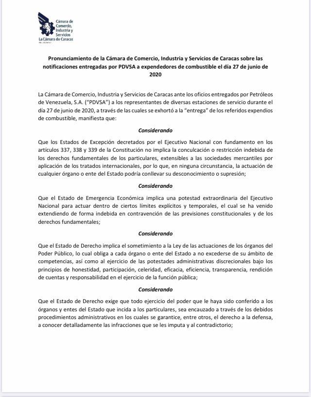 Excelente comunicado de la @CamaradeCaracas exigiendo al gobierno el respecto a la Constitución y las leyes cuando estas son violadas. Cumpliendo su rol de defender la propiedad privada y la libre iniciativa. https://t.co/2RLQnbi2dD