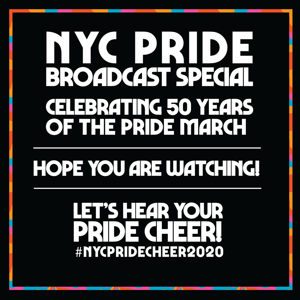 Here it is! Our final #nycpridecheer2020 is right around the corner so let's see and hear your cheer! Pride is year-round but at 1:00 pm EDT, we're symbolically celebrating together. Happy Pride, everyone! ❤️🧡💛💚💙💜🏳️🌈 https://t.co/RQkIp3U7KO