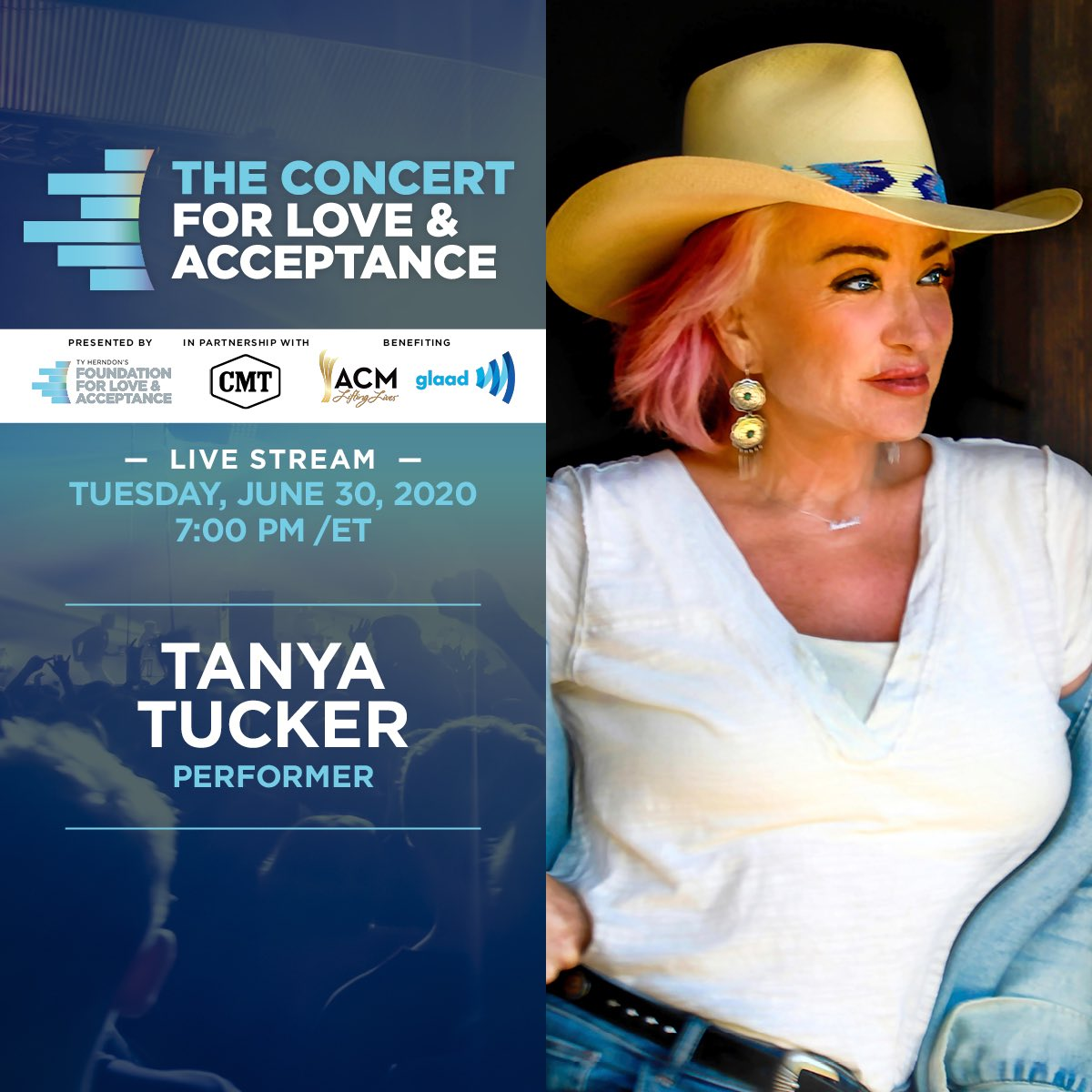 Are y'all ready for @tanyatucker to open the Concert For #LoveAndAcceptance on Tuesday?! Exclusively on @CMT Facebook and YouTube channels. More at https://t.co/rDcSbTf6ve. https://t.co/mQq1apBTGr
