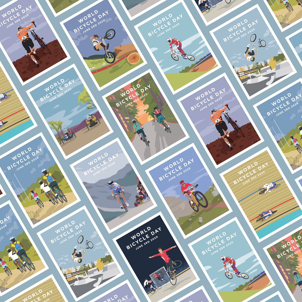 The illustrations I created for @UCI_cycling World Bicycle Day 2020 are now all available to buy as unbranded prints on my website 😃. Link in bio... . . #cyclingart #cyclingprints #worldbicycleday #worldbicycleday2020 #cyclinglife #cycling #cyclinglifestyle #UCI #bikelife https://t.co/4utoHEZFP4
