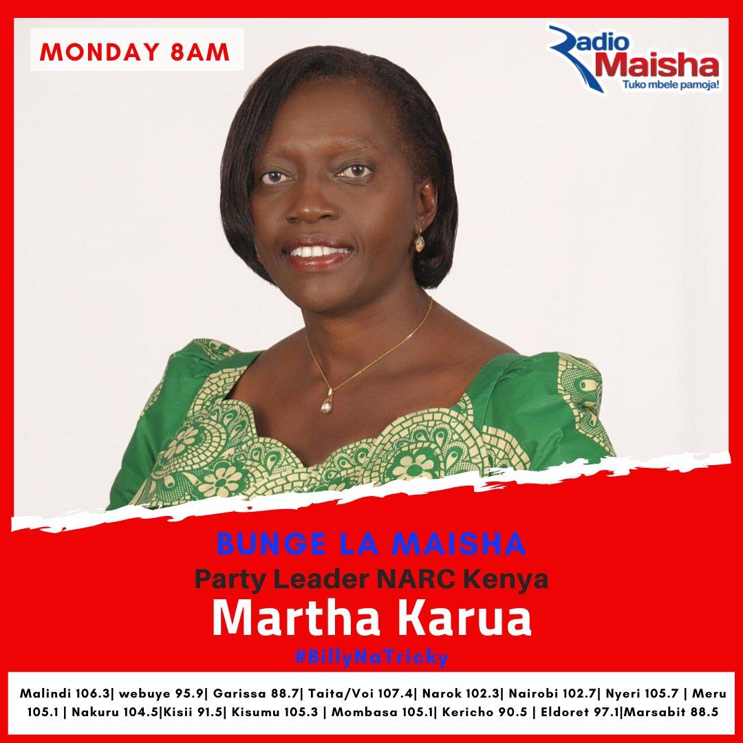 On Bunge La Maisha tomorrow; @MarthaKarua talks Kirinyaga verdict, issues judiciary and the BBI moment. Share questions and thoughts on #BillyNaTricky