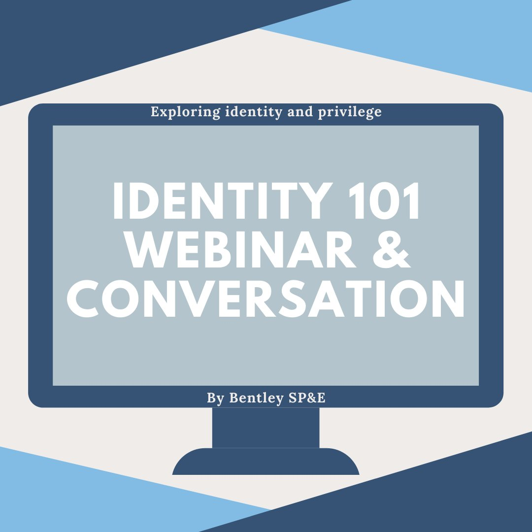 Join @Bentley_SPE in the Identity 101 conversation on July 1st! Visit this link to watch the webinar and then join in on Wednesday at 2pm to discuss identity and privilege with other members of the Bentley community! #SocialSustainability @bentleyu  https://t.co/60VnT2uGKD https://t.co/vwBn4vLTKJ