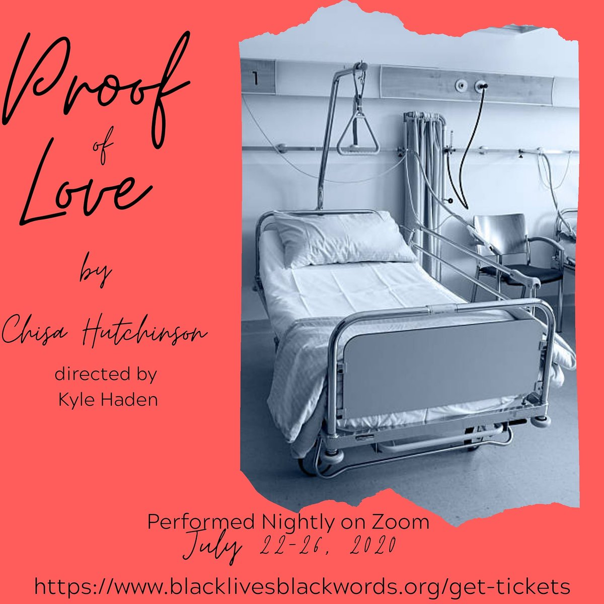 Get your tickets to Chisa Hutchinson's beautiful new play 'Proof of Love'- A part of Black Lives Black Words International Project's Plays for the People  Directed by Kyle Haden   Performed Nightly on Zoom, July 22-26, 2020  https://t.co/OFA6OjX4vw  #blacktheatrematters https://t.co/SBnkk4kVwM