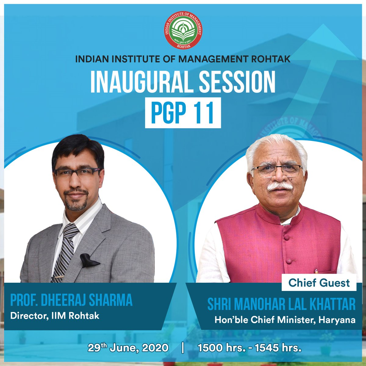 The Inaugural Session of PGP 11 is all set to start on a high note. Shri Manohar Lal Khattar(@mlkhattar), Hon'ble Chief Minister, Haryana,  will grace the session with his presence as the Chief Guest and address the students at IIM Rohtak. #MBA #BatchOf22 #IIMR  #IIMRohtak https://t.co/Ekoh7qJoO9