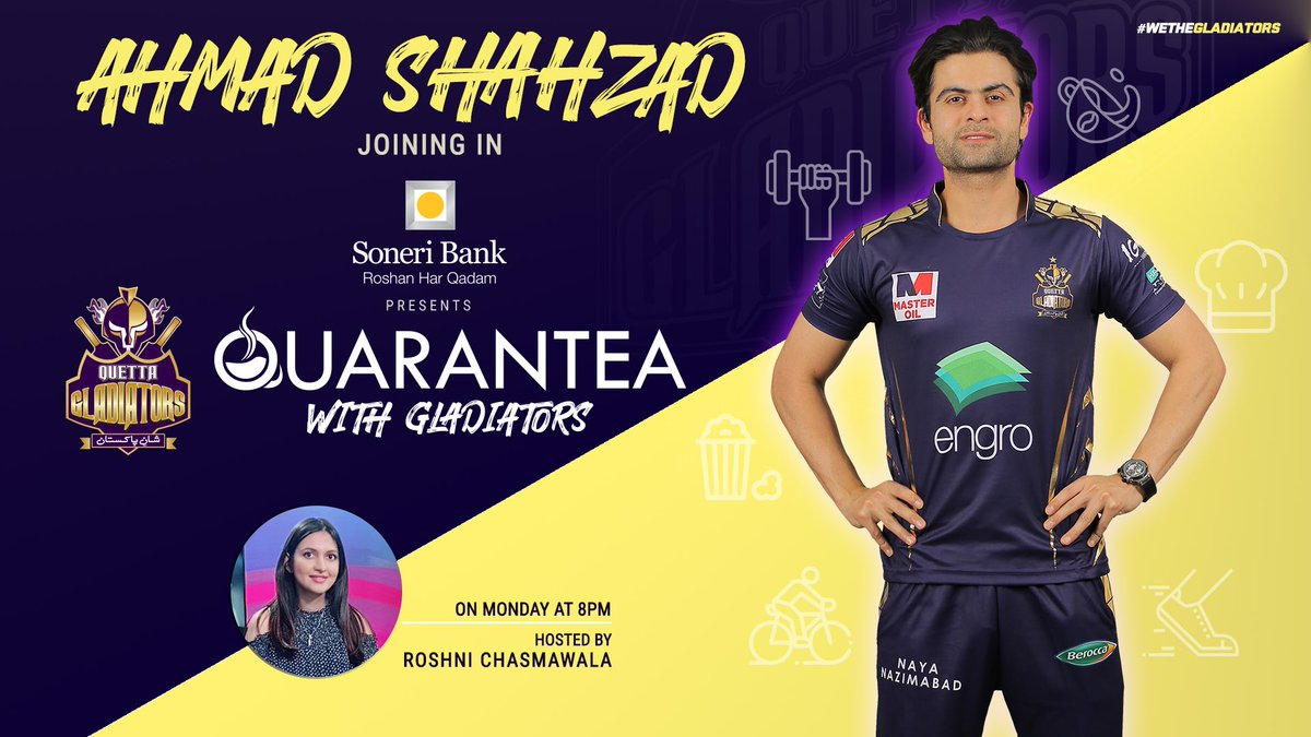 🤩 #PurpleForce!!   Get ready for another exciting episode of @SoneriBank_Pk presents #QuaranTeaWithGladiators, as our favourite ⭐️ @iamAhmadshahzad will be joining us!!  📺↘️  ⌚️📆 Monday |  8️⃣PM [PST]  💬 #AskAhmad and we can get them answered!! 😎  #WeTheGladiators https://t.co/SgpjDnqgbv