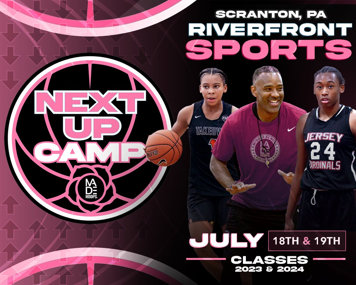 🚀 MADE Hoops Camps Are BACK! Introducing our Next Up Camp Series...  Are YOU Next Up? #BetOnGIRLS  🗓: July 18th-19th ⛹️‍: Classes 2023 & 2024 🏟: Riverfront Sports 📍: Scranton, PA 🎥: Live Streamed  Register: https://t.co/MethRbAGiC https://t.co/QamauJGaEV