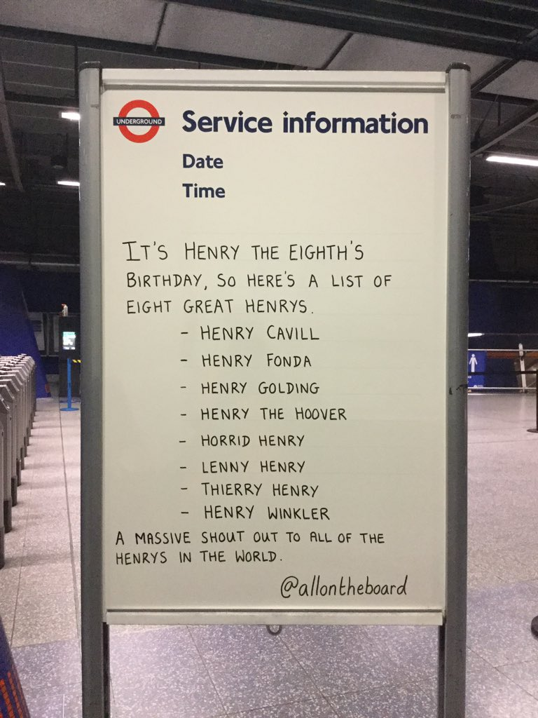 It's Henry The Eighth's Birthday, so here's a list of eight great Henrys. @allontheboard