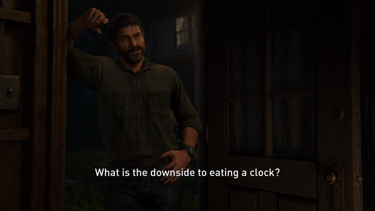 What is the downside to eating a clock?  #TheLastofUsPartII https://t.co/yNlmCPcdb9