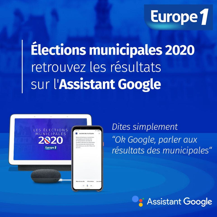 """Les résultats des #Municipales2020 sont arrivés ! Grâce à l'action @Europe1, retrouvez-les en demandant à votre Assistant : """"Ok Google, parler aux résultats des municipales"""" 🇫🇷 https://t.co/HDHQMeYnph"""