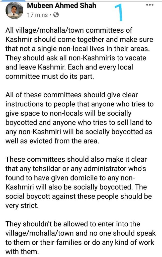 """Uživatel Let Kashmir Decide na Twitteru: """"Kashmir's top businessman Dr Mubeen  Shah has been booked for sedition by J&K police for FB post asking Kashmiris  to counter settler colonialism. Kashmir, they are"""