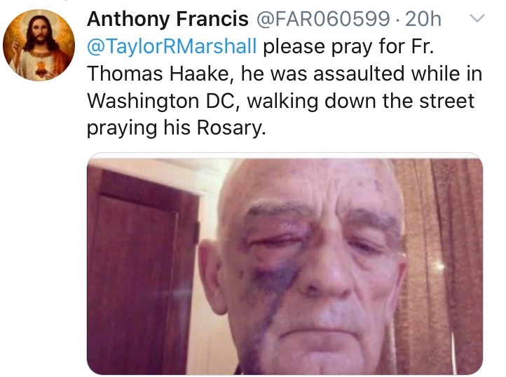 A priest is assaulted while walking down the streets of Washington DC by #ANTIFA terrorists. A Catholic man is beaten while praying the rosary at St. Louis statue in US by #BLM. If @JoeBiden wins US election, many fear these terrorist attacks will increase against Christians.