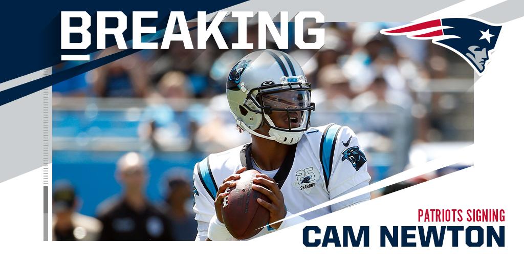 BREAKING: Patriots signing QB Cam Newton to one-year deal. (via @Rapsheet)