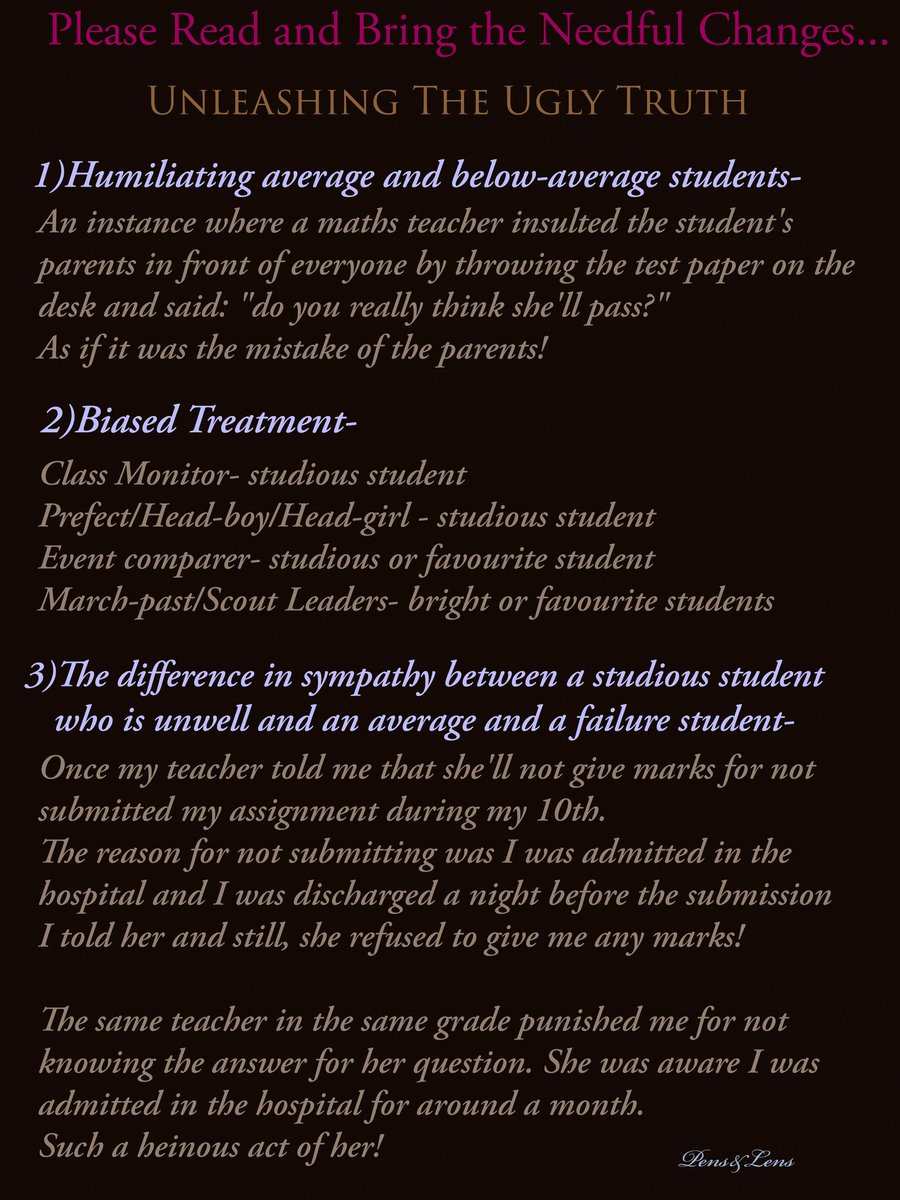 """""""FAVOURITISM IN SCHOOLS AND COLLEGES""""- Part 1 #writeup #educationalinstitute #schoollife #collegelife #teachers #students #studentslife #teacherstudentbond #partialtreatment #biased #favouritism #neednewmindset #changeyourmentality #goodchangeforthesociety #breakthecyclepic.twitter.com/Gh9Yu9SPtZ"""